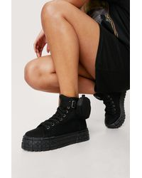 Nasty Gal Canvas High Top Pocket Trainers - Noir