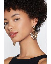 Nasty Gal - Gold Hammered Metal Drop Earrings - Lyst