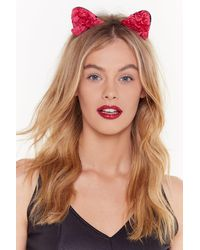Nasty Gal You're Creepin' Meow-t Floral Headband - Red