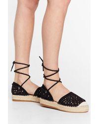 Nasty Gal It's Crochet With Us Tie Espadrille Sandals - Black