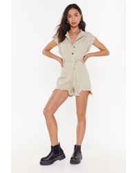 Nasty Gal Let The Music Fray Denim Button-down Playsuit - Multicolour