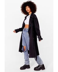 Nasty Gal Long Time Comin' Denim Belted Trench Coat - Black