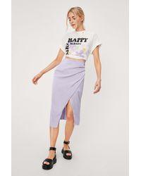 Nasty Gal High Waisted Wrap Satin Midi Skirt - Purple