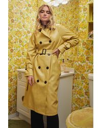 Nasty Gal Time Is On My Shine Belted Trench Coat - Yellow