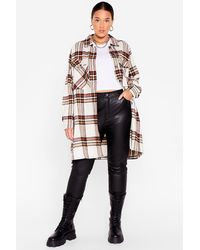 Nasty Gal - Plus Size Check Longline Shacket - Lyst