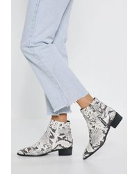 Nasty Gal If You Liked It Faux Leather Snake Boots - White