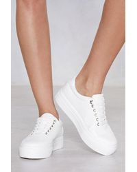 "Nasty Gal ""croc Faux Leather Platform Sneaker"" - White"