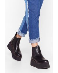 """Nasty Gal """"faux Leather Platform Boots With Contrasting Stitch"""" - Black"""
