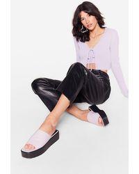 Nasty Gal Faux Leather Open Toe Platform Mules - Purple