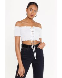 "Nasty Gal ""lace-up To You Shirred Off-the-shoulder Top"" - White"