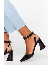 Nasty Gal Croc The Time Faux Leather Pointed Heels - Black