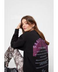 Nasty Gal Sagittarius Oversized Graphic Sweatshirt - Black