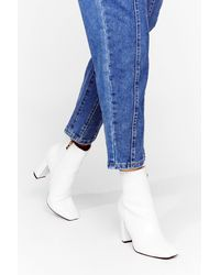 Nasty Gal Faux Leather Croc Square Toe Boots - White