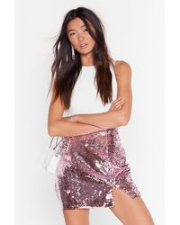 "Nasty Gal ""slit's Disco Night Sequin Mini Skirt"" - Pink"