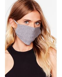Nasty Gal All Mouth Fashion Face Mask - Grey