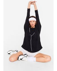 Nasty Gal - Oversized Contrast Seam Workout Sweatshirt - Lyst
