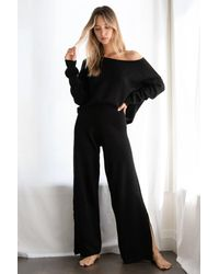 Nasty Gal Knit Sweater And Split Hem Pants Set - Black