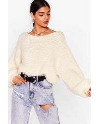 Nasty Gal Off The Shoulder Chunky Knit Sweater - White