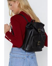 Nasty Gal - Want Wolf Pack Faux Leather Backpack - Lyst