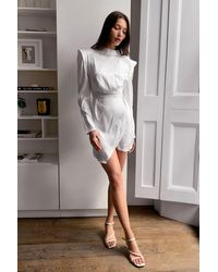 Nasty Gal Dressing Gown Courte En Jacquard À Col Montant Et Épaulettes Jeu De Pouvoirs - Blanc