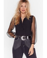 Nasty Gal Mesh I've Ever Had Balloon Sleeve Shirt - Black