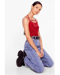 Nasty Gal Hot Right Meow Leopard Crop Top - Red