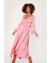 Nasty Gal Satin Long Sleeve Cowl Back Maxi Dress - Pink