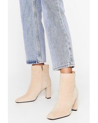 Nasty Gal Faux Suede Heeled Ankle Boots - Natural
