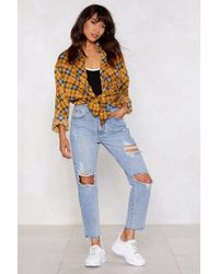 Nasty Gal - Shred Over Heels Distressed Jeans - Lyst