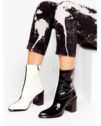 Nasty Gal Faux Leather Two Tone Heeled Boots - Black