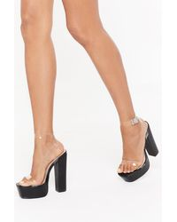 Nasty Gal Clear Ankle Strap Faux Leather Platform Heels - Black