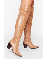 Nasty Gal Howdy Partner Western Thigh-high Boots - Natural