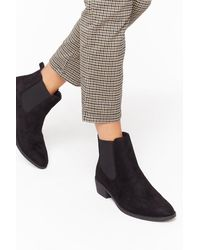 """Nasty Gal """"don't Walk Away Faux Suede Chelsea Boots"""" - Black"""