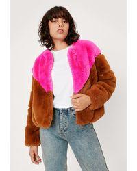 Nasty Gal Colourblock Faux Fur Jacket - Multicolor