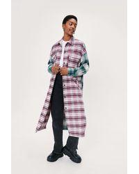 Nasty Gal Contrast Check Maxi Shirt Jacket - Pink