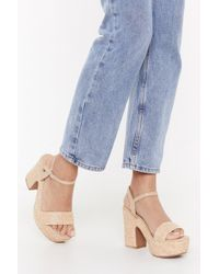 """Nasty Gal """"dare You To Be Strappy Faux Leather Heeled Sandals"""" - Natural"""