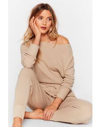 """Nasty Gal """"weekend Loading Knit Sweater And Jogger Lounge Set"""" - Natural"""