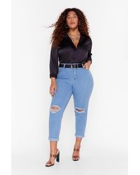 Nasty Gal Mom's The Word Plus High-waisted Jeans - Blue