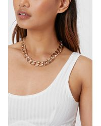 Nasty Gal Chunky Curb Chain Necklace - Metallic