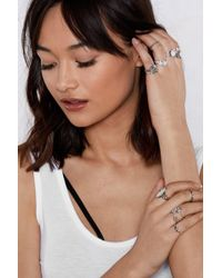 Nasty Gal - Can We Give You A Hand Embellished 12-ring Set - Lyst