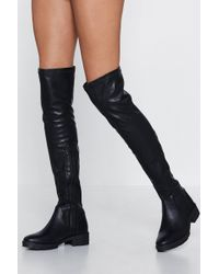 884dadf7579 Lyst - Nasty Gal Clarissa Over-the-knee Lace-up Boot in Black