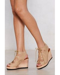 Nasty Gal - Lace-up Your Bets Wedge Sandal - Lyst