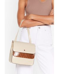 "Nasty Gal ""faux Leather Purse With Top Handle Strap"" - Natural"