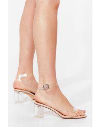 Nasty Gal Clear Block Heel Sandals - Natural