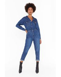 """Nasty Gal """"can't Hold Me Button-down Denim Boilersuit"""" - Blue"""