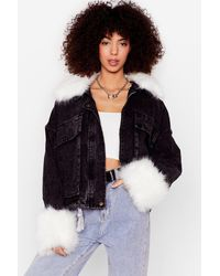 Nasty Gal Faux Fur Detail Denim Jacket - Black