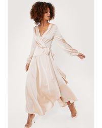 Nasty Gal Satin Long Sleeve Cowl Back Maxi Dress - Multicolour