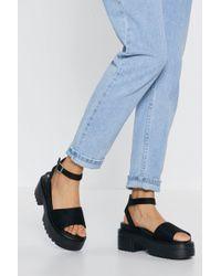 "Nasty Gal ""tread Carefully Platform Sandals"" - Black"