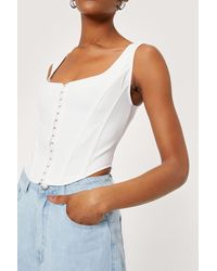 Nasty Gal Square Neck Sleeveless Cropped Corset Top - White