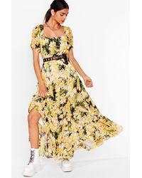 Nasty Gal Get Some Sunflower Floral Maxi Dress - Black